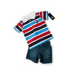 Set tricou polo si pantalon scurt denim_US Polo Boys