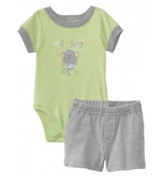Compleu body verde si pantalon scurt gri Baby_Headquarters