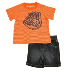 Set tricou portocaliu si pantalon scurt denim baieti