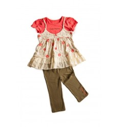 Compleu fetite leggings kaki si top floral_Calvin Klein