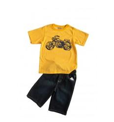 Set tricou galben si pantalon scurt denim baieti