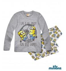 Pijama baieti Minions gri
