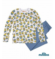 Pijama baieti Minions alba