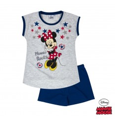 Pijama maneca scurta fete Disney Minnie gri