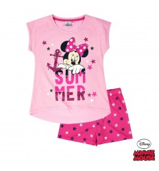 Pijama fete cu maneca scurta Disney Minnie roz