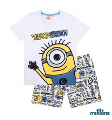 Pijamale copii Minioni alb
