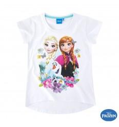 Tricou fete Elsa si Anna Frozen alb