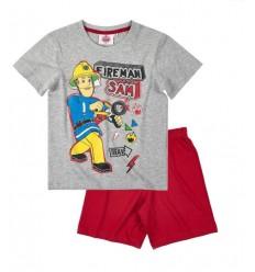 Pijamale maneca scurta Pompierul Sam gri/ rosu