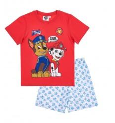 Pijamale maneca scurta Patrula Catelusior rosu/ alb