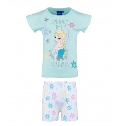 Pijamale fete maneca scurta Disney Frozen bleu