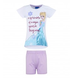 Pijamale fete maneca scurta Disney Frozen alb/ lila
