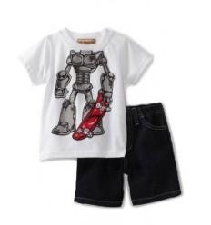 Set pantalon scurt denim si tricou baieti Skateboard Robot